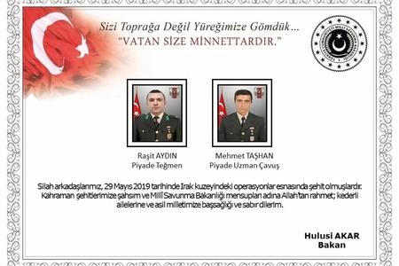 Türkiyə ordusu İraqın şimalında iki şəhid verib