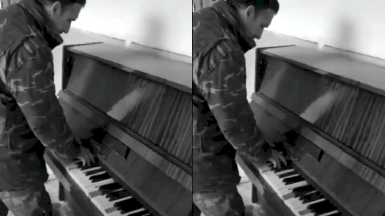 Əsgərimiz dağıntılar arasında piano ifa etdi– Video